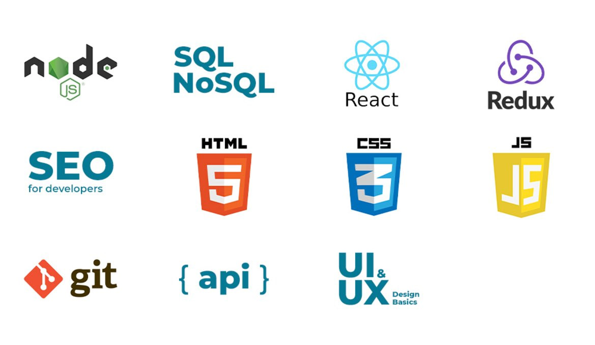 Logos of the technologies taught in the web and app development bootcamp