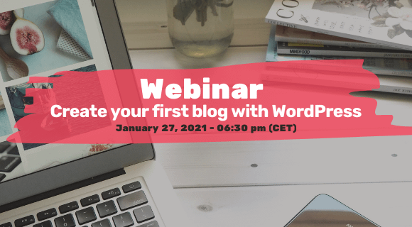 Invitation to webinar 'Create your first blog with WordPress' on January 27, 2021.
