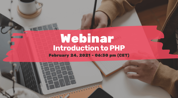 Invitation to webinar 'Introduction to PHP' on February 24, 2021.