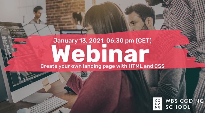Invitation to webinar 'Create your first landing page' on January 13, 2021.