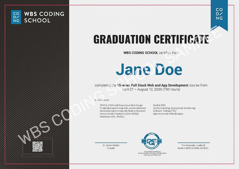 graduates certificate example
